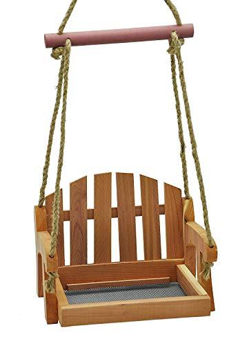 Cedar Squirrel - Gardirect Wooden Swing Seat Bird Feeder, Tray Feeder(Cedar)