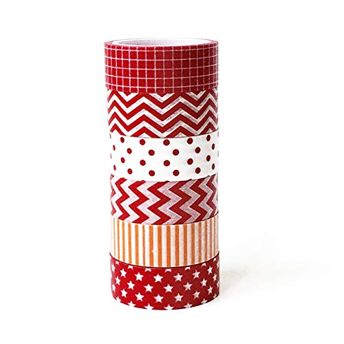 YaptheS 6 Rolls of Christmas Paper Tape Set, Christmas Masking Tape Series Art Craft Gift Packaging Gift Wrapping Christmas Party Like Theme Christmas Decorations red and White Supplies