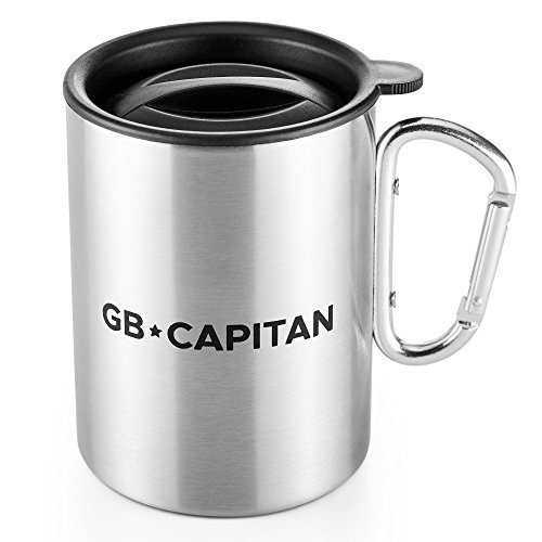 Stainless Steel Camping Mug - Sturdy Stainless Steel Carabiner Cup - Reusable Eco-Friendly Cup for Travel - Portable - Lightweight by GBrothers