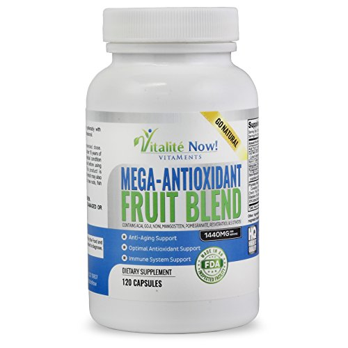 SuperFruit Antioxidant Supplements - Acai Resveratrol Pomegranate Goji Mangosteen + 6 Other Anti Aging Superfoods & Berries - Works on a Cellular Level! (Noni Goji Berry Juice compare prices)