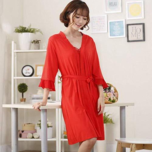 due tasche manica con estiva SYY cotone Large con X lunga con fasce Accappatoio sottile cotone Pigiama sezione da in donna in pigiama Completo sexy rosso rosa Accappatoio da ffCqw0B