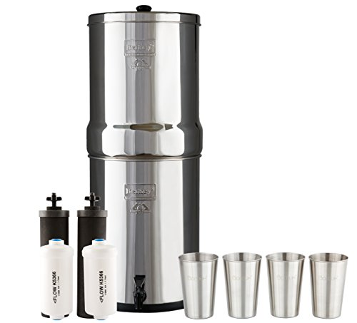 Imperial Berkey Water Filter System w/ 2 Black Purifier Filters (4.5 Gallons) Bundled w/ 1-set of Fluoride Filters (PF2) and 1-set of 4 Boroux 12oz Stainless Steel (Imperial Systems)