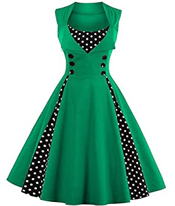 Tempt Me Women's Vintage 1950s Polka Dots Patchwork Party Swing Cocktail Dress Green Small