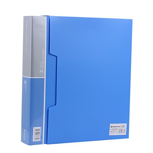 Ipienlee 80-Pocket Protector Presentation Book, A4 Size, 160-Page Capacity,Available for Report Sheets,Artworks,Music Sheets,Clippings, Random Color, (80-POCKET) (Sky Blue - 80)