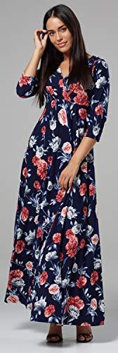 Wickeln Chelsea Seidig 2 Maxi Blumen 586z V Länge Kleid Clark Damen Ausschnitt Style nBBrqgp6
