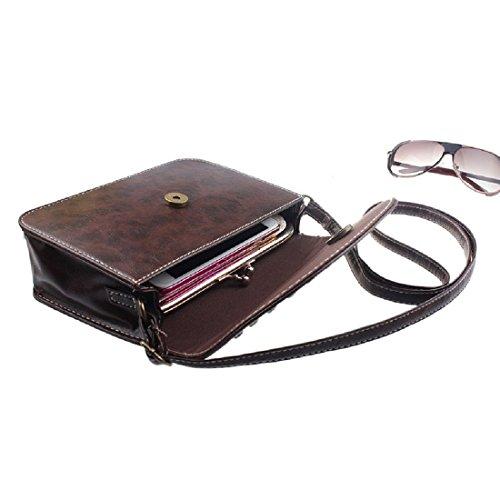 Cuoio retro' Borsa - TOOGOO(R)Donne borsa borse a tracolla del messaggero del cuoio retro' borsa (marrone scuro)