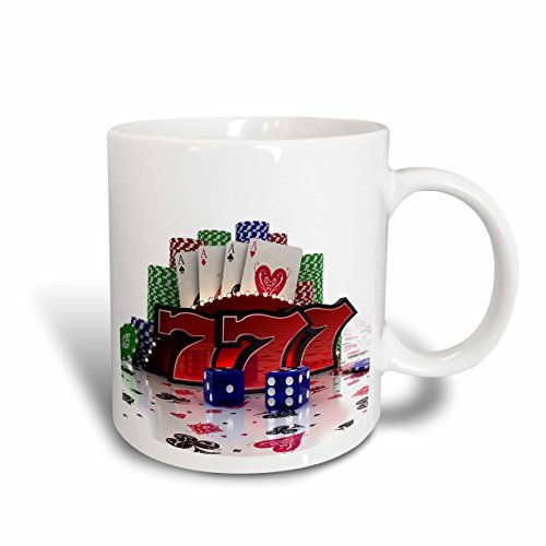 3dRose 155012_5 Casino Concept with Poker Cards Chips Dice and Slot Style Sevens Mug, 11 oz, Red -