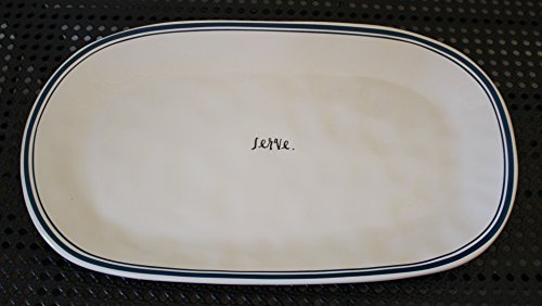 Rae Dunn SERVE. in Script Letters Blue Line 15 inch Oval Serving Platter. Dinner Snack Appetizer Platter. By Magenta.