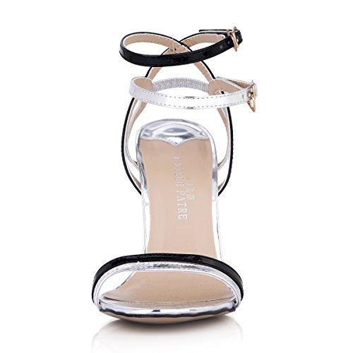 talon Nouvelle plus boutique la Sandales Farm Femme de haute chaussures chaussures bande femmes Silver d'été Show Black la pour Show grands les grHxr