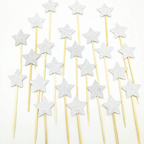 40 Pack Twinkle Twinkle Little Star Cupcake Toppers Glitter Silver Toppers Cake Decorations for Baby Shower Wedding Birthday Party]()