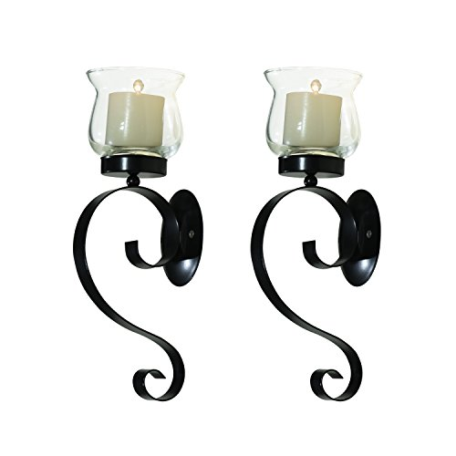 ELEGAN Vintage Metal Stand with Glass Candle Holder Sconces Sets Wall Sconce for Home Decoration Decor Accents. Set of 2