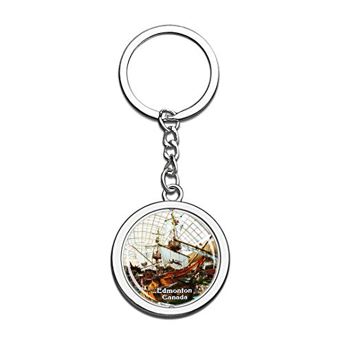 Keychain West Edmonton Mall Canada Keychain 3D Crystal Spinning Round Stainless Steel Keychains Travel City Souvenir Key Chain Ring