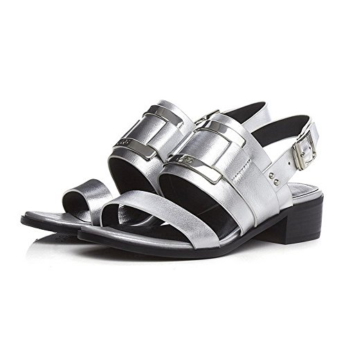 Solid Sandals Toe Silver Buckle heels Low Open Material AllhqFashion Soft Women's Ff8pqp