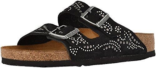 - Birkenstock Womens Arizona Rivets Black Suede Sandal - 39 N
