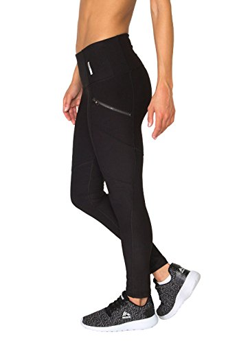 RBX Active Women's Full Length Fashion Leggings with Zipper Side Pockets and Wide Waistband (Mustache Pantyhose)