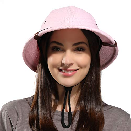 kainozoic Pith Helmet Costume Party Hat Tan Natural Women Men Pithe Helmet Gardening Hiking Jungle Explore Pink