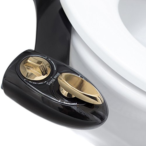 BOSS BIDET BOLD Toilet Attachment | Cleans Your Tushy | Warranty - Lifetime | 30 Day Guarantee | Dual Nozzle | Self Cleaning Sprayer Feature | Attaches in 15 Minutes (Black - Gold) (Black Bidet)