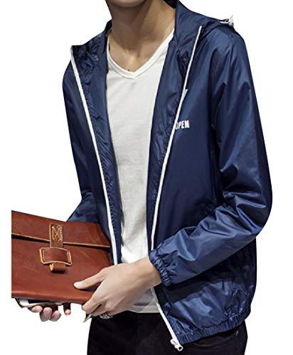 Fit Waterproof Original Full Signature MogogoMen Dark Coat Zip Blue Jacket g4PXw