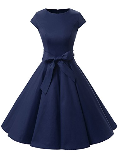Dressystar DS1956 Women Vintage 1950s Retro Rockabilly Prom Dresses Cap-Sleeve M Navy