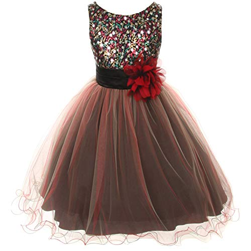 Big Girls Sparkly Multi Sequin Triple Layered Tulle Skirt Floral Brooch Flower Girl Dress Red - Size 14]()