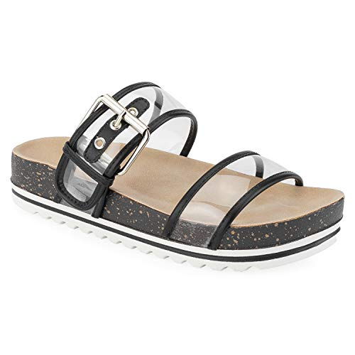 (RF ROOM OF FASHION Women's Double Clear Band White Lugged Sole Footbed Slides Sandals Black)