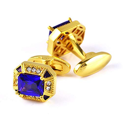 SJJY Gold-Plated Purple Zircon Cufflinks 2PC Crystal-Encrusted Men's Shirt Tuxedo Decorative Sleeves Nails Business Wedding Gifts