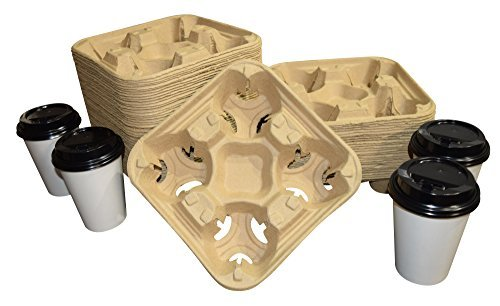 Biodegradable Pulp Fiber 4-Cup Drink Carrier Tray/Holder for Cold or Hot Drinks - Set of 75 Carry Out Tray 4 Cup