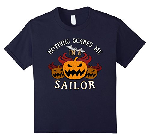 Zombie Sailor Girl Costume - Kids Nothing Scares Me I'm Sailor Tee 6 Navy