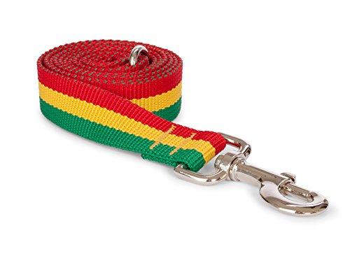 "Fab Dog Rasta Dog Leash, Red, Yellow, & Green, 5/8"" x 5 ft"