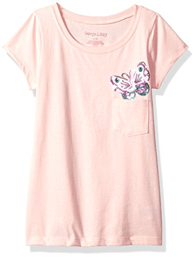 Colette Lilly Little Girls' Short Sleee Sequin Tee, Rose Butterfly, (Butterfly Short Sleeve Shorts)
