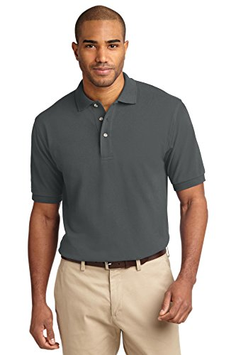 (Port Authority Men's Pique Knit Polo L Steel Grey)