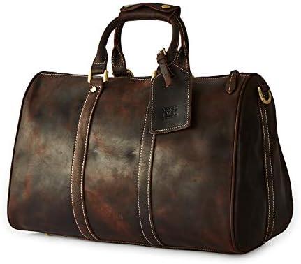 BRASS TACKS Leathercraft Men s Genuine Leather Utility Classic Doctor Duffel Weekend Work Bag w Shoulder Strap