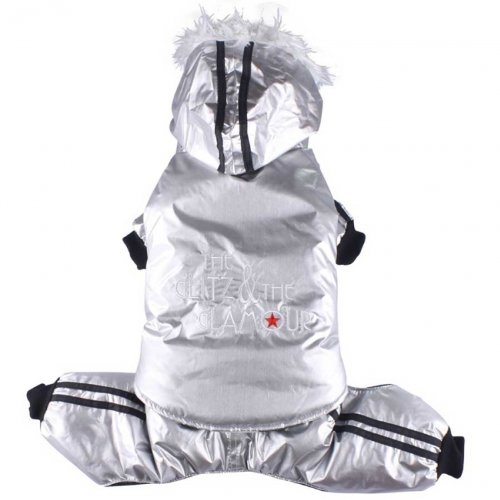 L chest 46-48cm, back 31-33cm Doggydolly Dog snow coat Glitz and Glamour silver