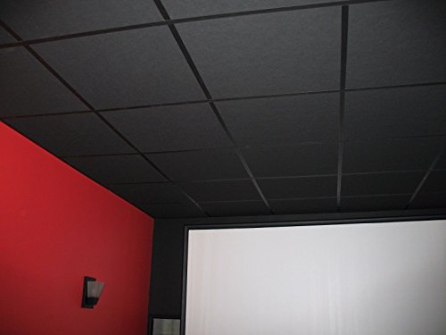 soundsulate Sound Absorbing Acoustical Drop Ceiling Tiles (Black, 24