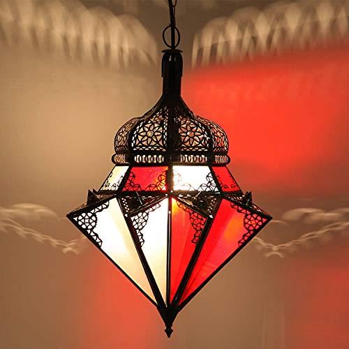 Lampe marocaine fait á la main á marrakech lampe orientale Marocaine á suspension - Véritable artisanat du Maroc, Jawhara rouge blanc Hauteur (avec suspension)  45 cm Diamètre  40 cm L1278