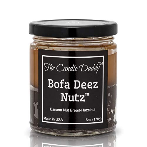 Bofa Deez Nutz- Funny- Banana Nut Bread n Hazelnut Vanilla- Scented Candle- Double Pour- 6 Ounce- 40 Hour Burn Time from The Candle Daddy