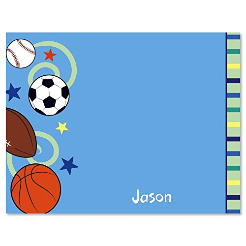 Sports Balls Kids Personalized Note Card Set - 24 cards with envelopes