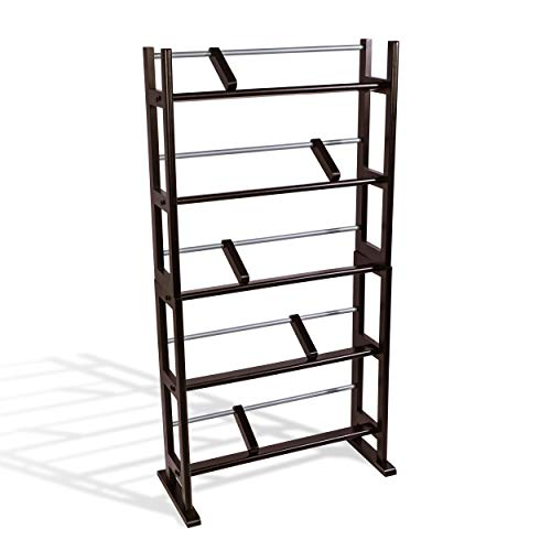(Atlantic Element Media Storage Rack - Holds up to 230 CDs or 150 DVDs, Contemporary Wood & Metal Design with Wide feet for Greater Stability, PN35535601 in Espresso)