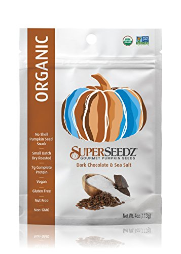 SuperSeedz Organic Pumpkin Seeds,Dark Chocolate & Sea Salt, 4 Ounce (Pack of 6)]()