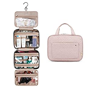 BAGSMART Toiletry Bag Travel Bag with Hanging Hook, Water-resistant Makeup Cosmetic Bag Travel Organizer for Accessories, Shampoo, Full Sized Container, Toiletries