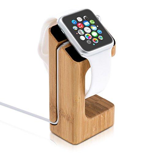 kwmobile Echtholz Ladeständer für Apple Watch Bambusholz Hellbraun