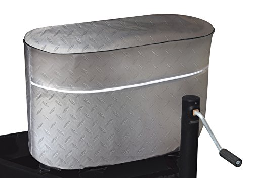 ADCO 2713 Silver Double 30 Diamond Plated Steel Vinyl Propane Tank - Cover Propane Chrome