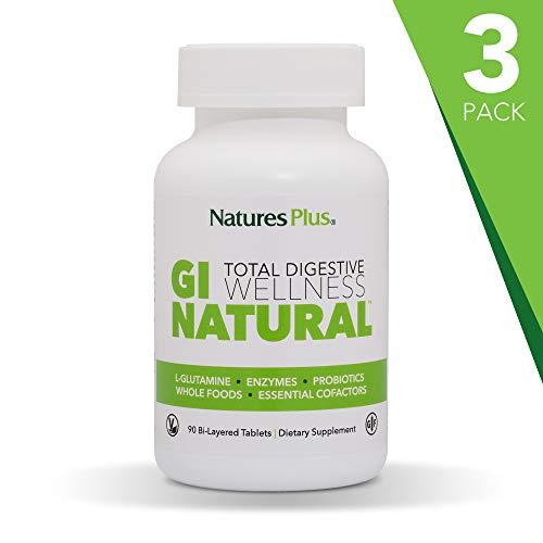 NaturesPlus GI Natural Total Digestive Wellness (3 Pack) - 90 Vegetarian Tablets, Bilayer - Natural Gut Health Supplement, Probiotics, Prebiotics, Enzymes - Gluten-Free - 90 Total Servings