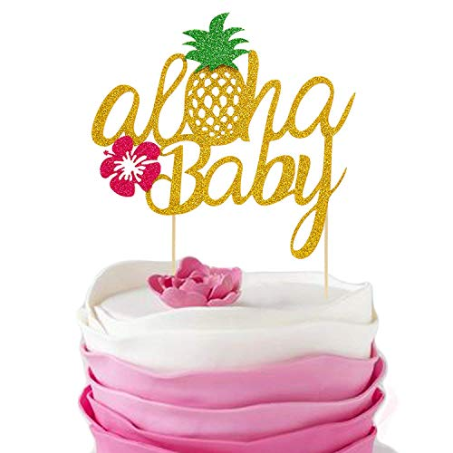 Pineapple Cake Toppers Aloha Baby Shower Birthday Glitter Decorations Hawaiian Tropical Beach Pool Laua Party Favor Supplies ()