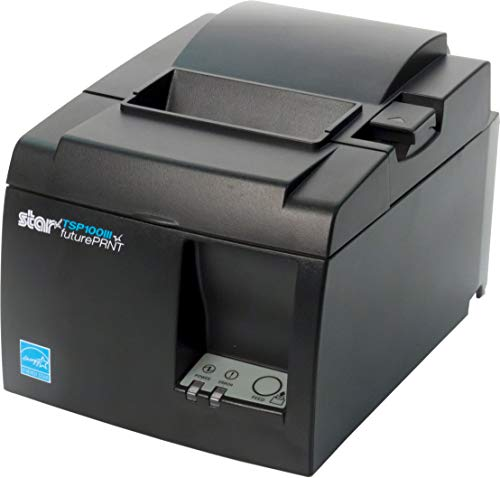 Star Micronics TSP143IIIU USB Thermal Receipt Printer with Device and Mfi USB Ports, Auto-cutter, and Internal Power Supply – Gray (Renewed)