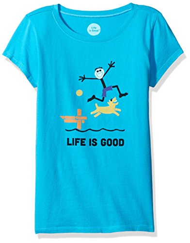Life is Good Girls' Elemental Dock Crusher Tee (Little Big Kids), Bright Blue, Medium