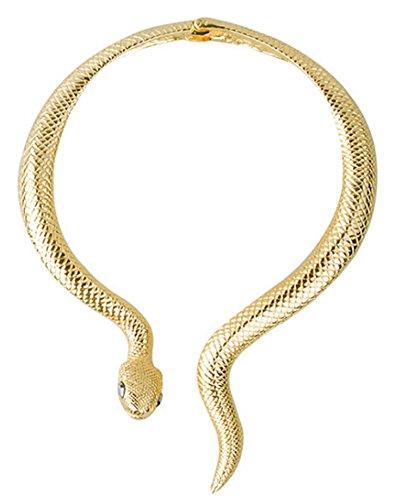 Mr.Duca Women Gold Tone Snake Necklace Curved Bar Design Adjustable Neck Collar Choker (Gold,Black ()