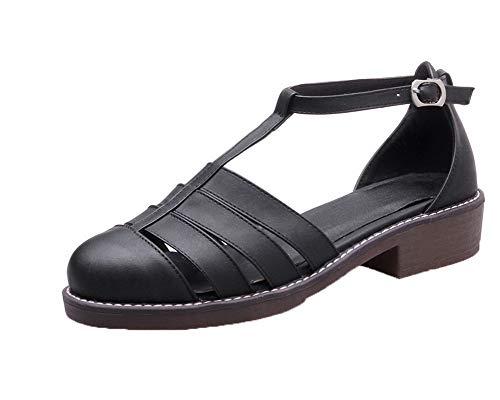 Agoolar Couleur Femme Unie Noir Boucle À Bas Talon Sandales Gmblb015267 rUrxwBA7