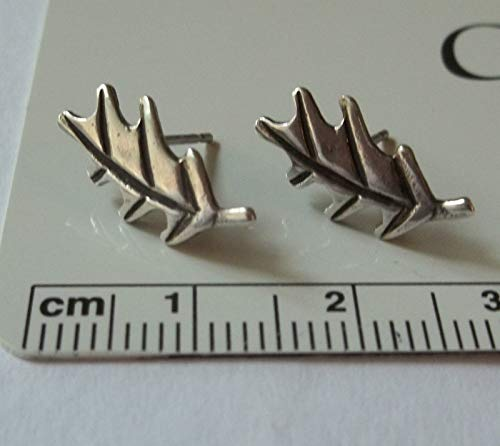 Sterling Silver Small 12x8mm Oak Leaf Stud Post Earrings! ()