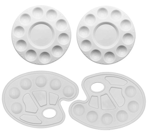 SOOKOO 4 Pieces Plastic Paint Tray Palettes, Art Palettes fo